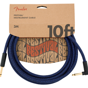 Fender Angled Festival Instrument Cable Blue 10 Feet