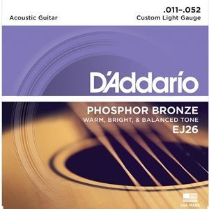 D'addario Phosphor Bronze Acoustic Custom Light Strings (.011-.052)