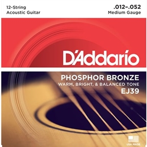 D'addario Phosphor Bronze Acoustic 12-string Medium (.012-.052)