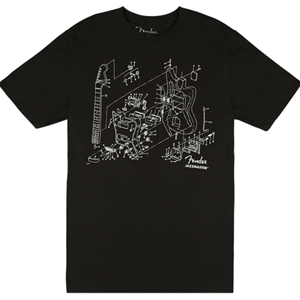 Fender Jazzmaster Patent Drawing Tee Blk