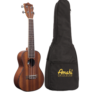 Amahi Classic  Tenor Ukulele, All Mahogany-Pickup & Tuner w/Bag