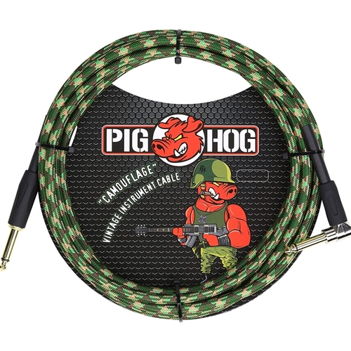 Pig Hog Camouflage Instrument Cable 10 feet Right Angle