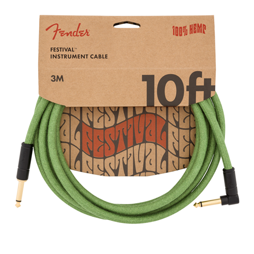 Fender Festival Hemp Instrument Cable Green 10 Feet