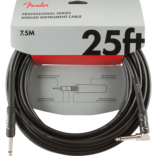 Fender 25' Professional Instrument Cable Angled Black