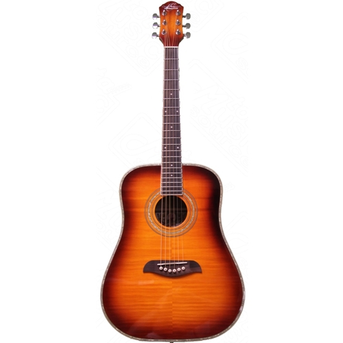 Oscar Schmidt - 3/4 Size Dreadnought Acoustic Flame Yellow Sunburst