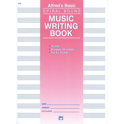 Alfred: 12 Stave Manuscript Paper - ( Spiral Bound, 96 Pages )