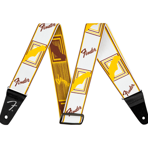 Fender Weighless Monogram Strap White Brown Yellow